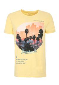 TOP SECRET - T-shirt z nadrukiem. Okazja: na co dzień. Kolor: żółty. Materiał: bawełna. Długość rękawa: krótki rękaw. Długość: krótkie. Wzór: nadruk. Styl: casual