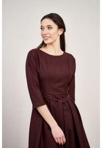 Marie Zélie - Sukienka Andrea wełna bordowa. Kolor: czerwony. Materiał: wełna. Typ sukienki: rozkloszowane. Styl: klasyczny