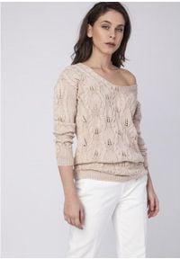 MKM - Kobiecy Ażurowy Sweter - Beżowy. Kolor: beżowy. Materiał: bawełna, akryl. Wzór: ażurowy