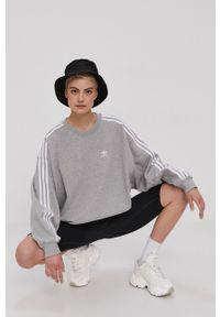 adidas Originals - Bluza bawełniana. Okazja: na co dzień. Kolor: szary. Materiał: bawełna. Długość rękawa: długi rękaw. Długość: długie. Wzór: aplikacja. Styl: casual