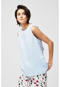 Niebieska koszula MOODO bez rękawów, bez kołnierzyka
