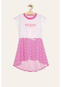 Różowa sukienka Guess Jeans z krótkim rękawem, mini