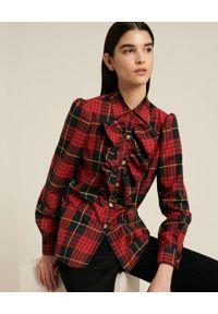 Luisa Spagnoli - LUISA SPAGNOLI - Czerwona koszula w kratę Luter. Kolor: czerwony. Materiał: bawełna. Długość rękawa: długi rękaw. Długość: długie