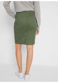 Spódnica z plisą guzikową bonprix ciemny khaki. Kolor: zielony