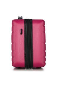 Wittchen - Kosmetyczka podróżna z ABS-u żłobiona. Kolor: różowy