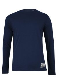 T-shirt Granatowy, Długi Rękaw, Basic, Koszulka, Longsleeve, 100% BAWEŁNA -Brave Soul- Męski. Okazja: na co dzień. Kolor: niebieski. Materiał: bawełna. Długość rękawa: długi rękaw. Długość: długie. Wzór: napisy, aplikacja. Styl: casual