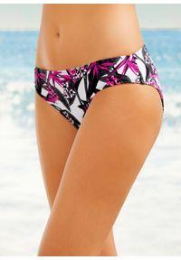 Figi bikini bonprix czarno-różowy w kwiaty. Kolor: czarny. Wzór: kwiaty