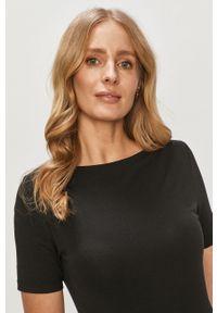Czarna bluzka Vero Moda na co dzień, z dekoltem w łódkę, casualowa, gładkie