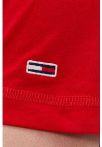 Tommy Jeans - T-shirt bawełniany. Okazja: na co dzień. Kolor: czerwony. Materiał: bawełna. Wzór: gładki. Styl: casual