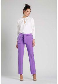 Fioletowe spodnie z wysokim stanem Nommo eleganckie