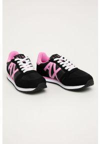 Czarne buty sportowe Armani Exchange z cholewką, z okrągłym noskiem
