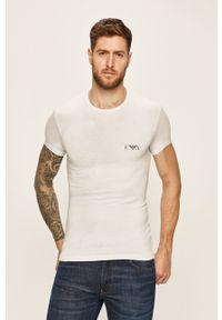 Biały t-shirt Emporio Armani z nadrukiem