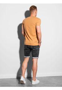 Ombre Clothing - T-shirt męski bez nadruku S1390 - żółty - XXL. Typ kołnierza: polo. Kolor: żółty. Materiał: jeans, poliester, bawełna