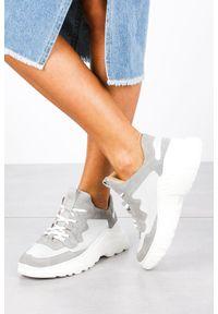 Kati - szare sneakersy kati buty sportowe sznurowane 7037. Kolor: szary. Materiał: zamsz, skóra. Szerokość cholewki: normalna. Obcas: na platformie