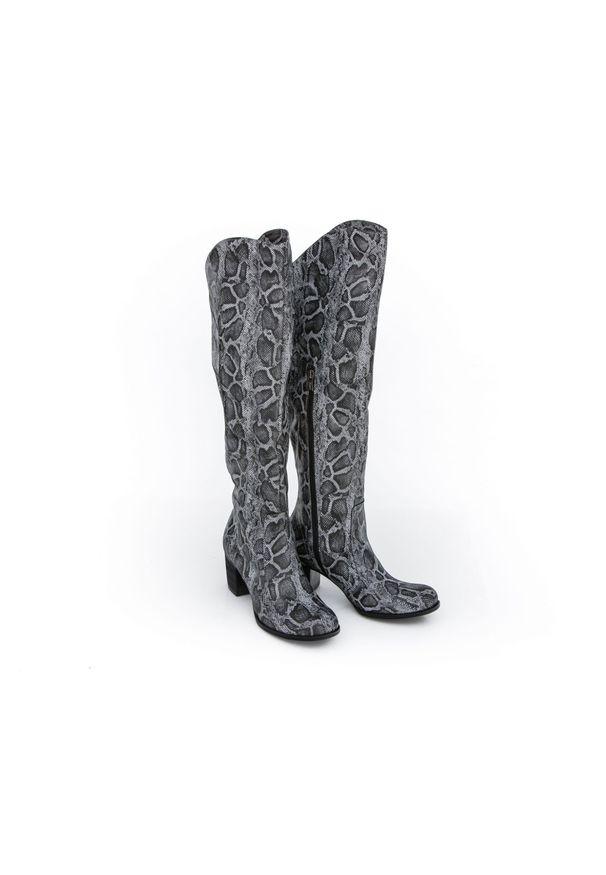 Czarny kozaki Zapato w kolorowe wzory, wąskie, z cholewką za kolano