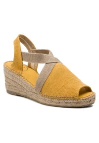 Żółte sandały Toni Pons na obcasie, na co dzień, na średnim obcasie