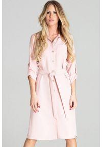 Figl - Koszulowa sukienka szmizjerka z podpinanym rękawem 3/4 różowa. Okazja: do pracy, na uczelnię, na imprezę. Kolor: różowy. Typ sukienki: koszulowe, szmizjerki