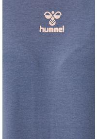 Niebieska bluza Hummel raglanowy rękaw, bez kaptura, z nadrukiem