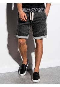 Ombre Clothing - Krótkie spodenki męskie jeansowe W219 - czarne - XL. Kolor: czarny. Materiał: jeans. Długość: krótkie. Wzór: aplikacja