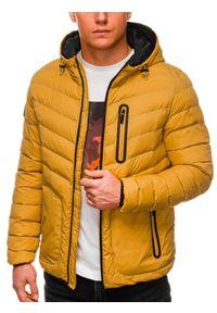 Ombre Clothing - Kurtka męska puchowa pikowana C356 - żółta - XXL. Okazja: na co dzień. Typ kołnierza: kaptur. Kolor: żółty. Materiał: puch. Styl: casual