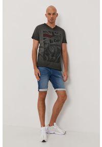 Szary t-shirt Lee Cooper z nadrukiem, casualowy, na co dzień