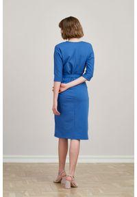 Niebieska sukienka Marie Zélie moda ciążowa, młodzieżowa, z kopertowym dekoltem