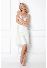 Aruelle - Koszula nocna Brenna. Kolor: biały. Materiał: satyna, materiał, koronka. Wzór: ze splotem