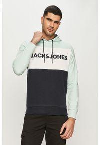 Turkusowa bluza nierozpinana Jack & Jones casualowa, z kapturem, na co dzień