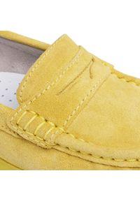 Żółte półbuty Nessi na płaskiej podeszwie, z cholewką