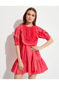 SELF PORTRAIT - Różowa sukienka mini z falbanami. Typ kołnierza: z żabotem. Kolor: różowy, wielokolorowy, fioletowy. Materiał: bawełna, koronka. Wzór: koronka, aplikacja. Długość: mini