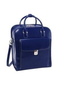 Torba na laptopa MCKLEIN La Grange 15.6 cali Granatowy. Kolor: niebieski. Materiał: skóra, kauczuk. Wzór: gładki. Styl: biznesowy, casual