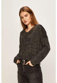 Vero Moda - Sweter. Okazja: na co dzień. Kolor: szary. Materiał: dzianina, koronka. Wzór: melanż. Styl: casual