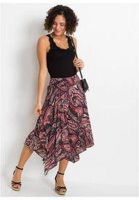 Spódnica z asymetryczną linią dołu bonprix czarno-malinowy paisley. Kolor: czarny. Długość: długie. Wzór: paisley #6