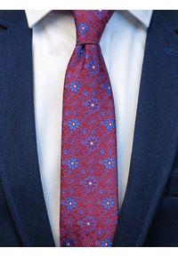 Modini - Bordowy krawat męski w kwiaty C4. Kolor: czerwony. Materiał: tkanina, mikrofibra. Wzór: kwiaty
