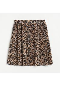 Brązowa spódnica Reserved z nadrukiem