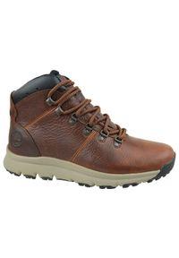 Brązowe buty zimowe Timberland z cholewką, na zimę, w kolorowe wzory