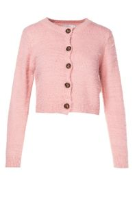 Born2be - Różowy Komplet Molgina. Kolor: różowy. Materiał: jeans. Wzór: prążki