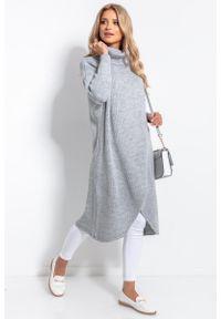 Fobya - Długi Kopertowy Sweter z Golfem - Szary. Typ kołnierza: golf. Kolor: szary. Materiał: akryl, wełna. Długość: długie