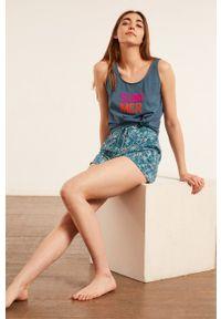 Etam - Top piżamowy Bret. Kolor: niebieski. Wzór: nadruk