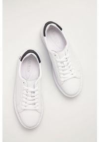Białe sneakersy Lauren Ralph Lauren z cholewką, na niskim obcasie, na sznurówki