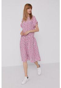 TOMMY HILFIGER - Tommy Hilfiger - Sukienka. Kolor: różowy. Materiał: wiskoza, tkanina, materiał. Długość rękawa: krótki rękaw. Typ sukienki: rozkloszowane