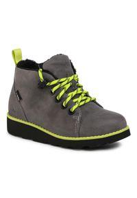 Clarks - Trzewiki CLARKS - Crown Tor K 261542177 Grey Leather. Kolor: szary. Materiał: skóra, nubuk. Szerokość cholewki: normalna. Sezon: zima, jesień