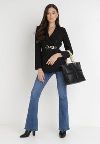Born2be - Czarna Marynarka Ianthathe. Kolor: czarny. Materiał: jeans, materiał #3
