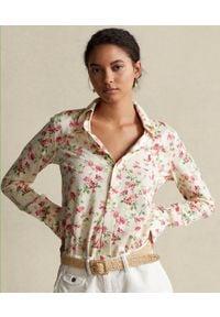Ralph Lauren - RALPH LAUREN - Bawełniana koszula w kwiaty. Typ kołnierza: polo. Kolor: beżowy. Materiał: bawełna. Długość rękawa: długi rękaw. Długość: długie. Wzór: kwiaty