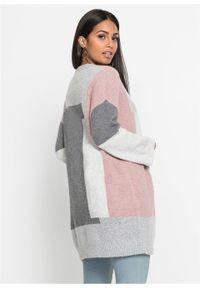 """Długi sweter bez zapięcia """"colorblocking"""" bonprix szaro-jasnoróżowy wzorzysty. Kolor: szary. Długość: długie. Wzór: aplikacja"""