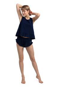 MOE - Bawełniane Szorty Piżamowe z Falbankami - Granatowe. Kolor: niebieski. Materiał: bawełna