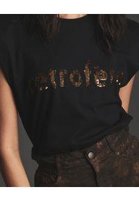 RETROFETE - Czarny t-shirt Eliana. Okazja: na co dzień. Kolor: czarny. Materiał: bawełna. Styl: casual