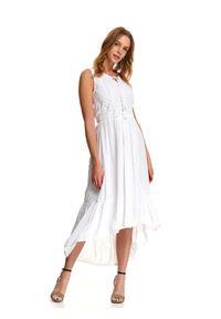 Biała sukienka TOP SECRET na lato, z aplikacjami, casualowa