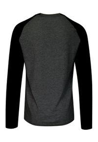 Brave Soul - Dwukolorowy T-Shirt Męski, Popielato-Czarny, Koszulka z Długim Rękawem, Longsleeve -BRAVE SOUL. Okazja: na co dzień. Kolor: wielokolorowy, czarny, szary. Materiał: bawełna. Długość rękawa: długi rękaw. Długość: długie. Sezon: jesień, zima. Styl: klasyczny, casual