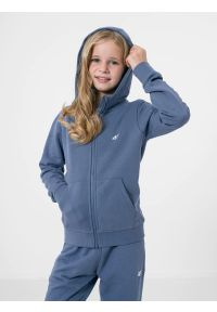 4f - Bluza dresowa rozpinana z kapturem dziewczęca. Typ kołnierza: kaptur. Kolor: niebieski. Materiał: dresówka